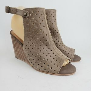 Lucky Brand Taupe Leather Slingback Wedges 7.5 M